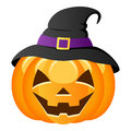 Halloween pumpkin with witch hat a funny smiling a black isolated on white background eps file available Stock Images