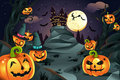 Halloween pumpkins background Stock Photo