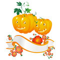 Halloween pumpkins and banner Royalty Free Stock Photography