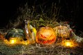 Halloween, Pumpkins and Brooms Royalty Free Stock Photo