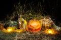 Halloween, Pumpkins and Brooms Royalty Free Stock Photo