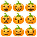 Halloween pumpkins collection set of nine funny with different facial expressions isolated on white background eps file available Stock Images