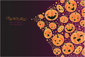 Halloween pumpkins corner decor background vector with hand drawn elements Royalty Free Stock Photography