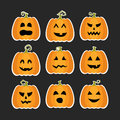 Halloween pumpkins flat stikers set Royalty Free Stock Photo