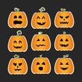 Halloween pumpkins flat stikers set Royalty Free Stock Photo