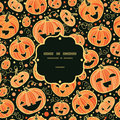Halloween pumpkins frame seamless pattern vector background with hand drawn elements Royalty Free Stock Photo