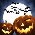Halloween pumpkins full moon and bats d illustration Royalty Free Stock Photos