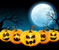 Halloween pumpkins in the full moon vector illustration for with funny on background of Stock Photos