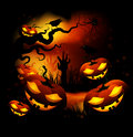 Halloween pumpkins funny at night in the forest Stock Images