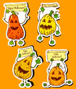 Halloween pumpkins happy stickers set Stock Photography