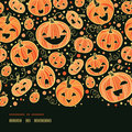 Halloween pumpkins horizontal border seamless vector pattern background with hand drawn elements Royalty Free Stock Photography