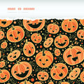 Halloween pumpkins horizontal torn frame seamless vector pattern background with hand drawn elements Stock Photo