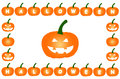 Halloween pumpkins on isolated white background pumpkin frame Stock Photography