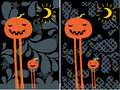 Halloween pumpkins moon and pattern post cards Royalty Free Stock Photography