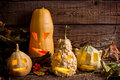 Halloween pumpkins in night on wooden boards Stock Photography