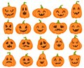 Halloween pumpkins. Orange pumpkin with jack lantern characters. Spooky and angry carved faces for autumn holiday