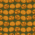 Halloween pumpkins seamless pattern Stock Images