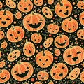 Halloween pumpkins seamless pattern background vector with hand drawn elements Stock Photos