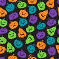 Halloween pumpkins seamless pattern. Scary jack o lantern face silhouettes. Happy halloween vector endless backdrop