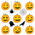Halloween pumpkins set Stock Images