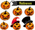 Halloween pumpkins set of with different facial expression Stock Image