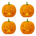 Halloween pumpkins set of four creepy Royalty Free Stock Photos