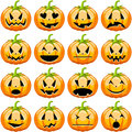 Halloween pumpkins set illustration featuring a collection of with different facial expressions and mood isolated on white Royalty Free Stock Photography