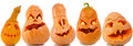 Halloween pumpkins set of scary jack o lantern Stock Photography