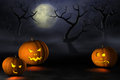 Halloween pumpkins in a spooky forest at night
