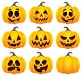 Halloween pumpkins theme set 1 Royalty Free Stock Photo