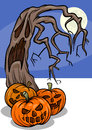 Halloween pumpkins with tree cartoon illustration of spooky Stock Photos