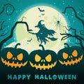 Halloween pumpkins under the moonlight.