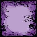 Halloween purple background with flying bats, spiders, web, cobweb, pumpkins, tombs, tree.