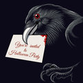 Halloween raven the with invitation card to party in a beak free font used Royalty Free Stock Image