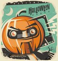Halloween retro invitation concept