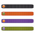 Halloween ribbon set with  buttons.black,orange, green and purple. Royalty Free Stock Photo