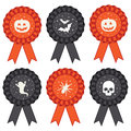 Halloween rosettes set of rosette ribbon decorations in black and orange Stock Image