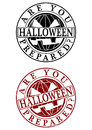 Halloween rubber stamp are you prepared a set of two on a white background Stock Photography
