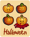 Halloween's drawing - four pumpkin heads of Jack Stock Photography