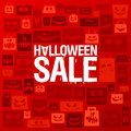 Halloween sale banner against scary paper bags. Royalty Free Stock Photo