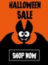 Halloween sale bat on orange background Royalty Free Stock Photo