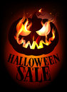 Halloween sale design with burning pumpkin eps Royalty Free Stock Photos