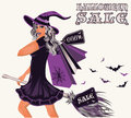 Halloween sale postcard with sexy witch vector illustration Royalty Free Stock Photography