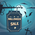 Halloween Sale Promotional Sign Board Cemetery Royalty Free Stock Photo