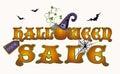 Halloween sale pumpkin banner, vector