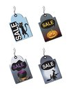 Halloween sale tags with a witch potion pumpkin and cat Royalty Free Stock Image