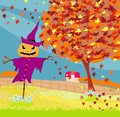 Halloween scarecrow autumn rural landscape illustration Royalty Free Stock Images