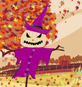 Halloween scarecrow autumn rural landscape illustration Royalty Free Stock Image