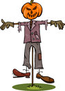 Halloween scarecrow cartoon illustration of spooky fright Stock Photo
