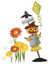 Halloween scarecrow raven colorful illustration and Stock Images